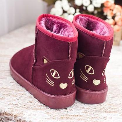 Ulass Cute Kitty Snow Fur Boots. Fo..