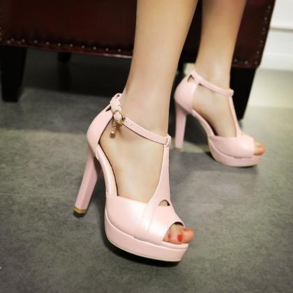 Ulass Stiletto High Heel T Strap Be..