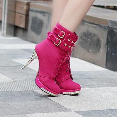 UlassSexy Lace Up Rivets High Heels..