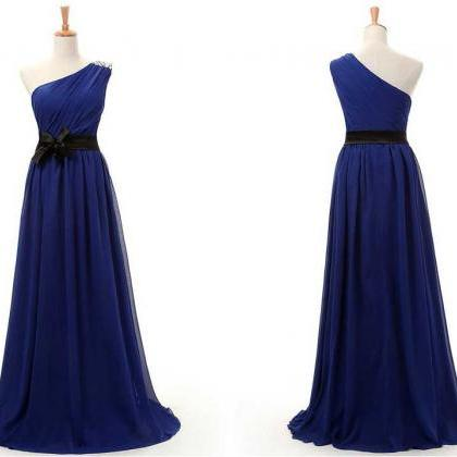 NEW ARRIVAL MODEST BEADED ONE SHOULDER CHIFFON DRESS WITH Chiffon Prom Dress/Bridesmaid Dress/Homecoming Dress/[Party Dress/Evening Dress