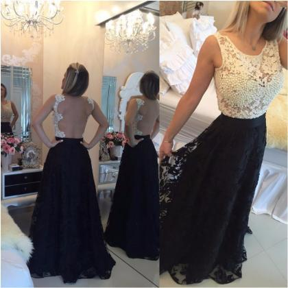 Ulass Black Lace Long Prom Gowns 20..