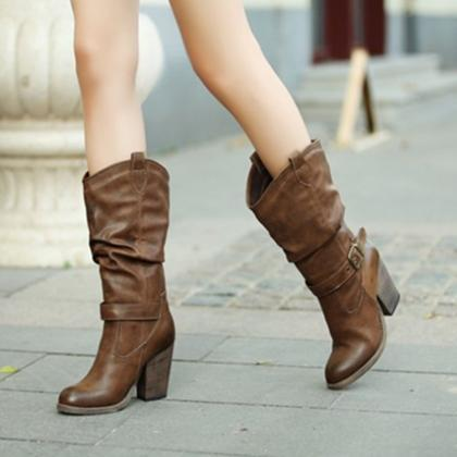 Ulass Winter Thick Heels Buckle Ret..