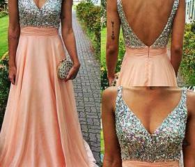 Ulass Beading Prom Dresses, V-Neck Floor-Length Evening Dresses, Real Made Evening Dresses,Chiffon Sequins Evening Dresses, Charming Evening Dresses