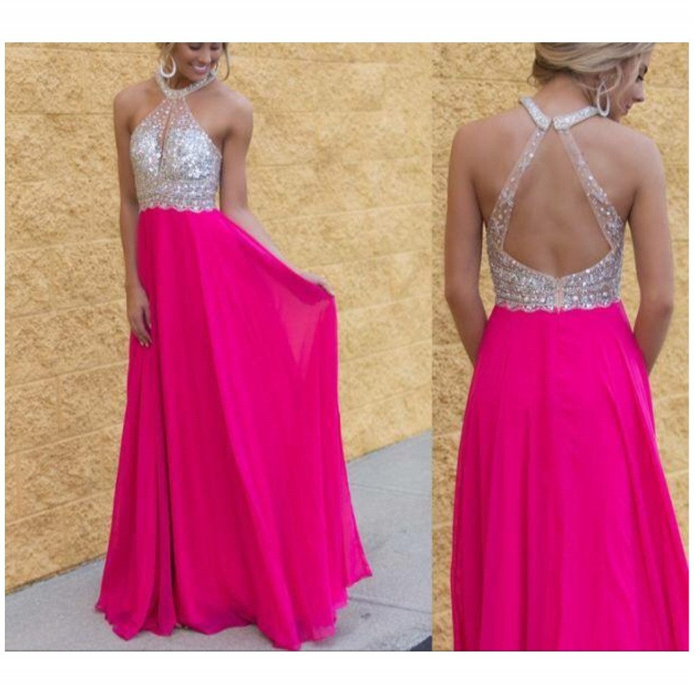 Ulass Prom-Dresses-Chiffon-Scoop-Sequin-Fuchsia-Sleeveless- Floor-Length-Backless-Prom-Gowns-Bling-Bling-Custom-Made