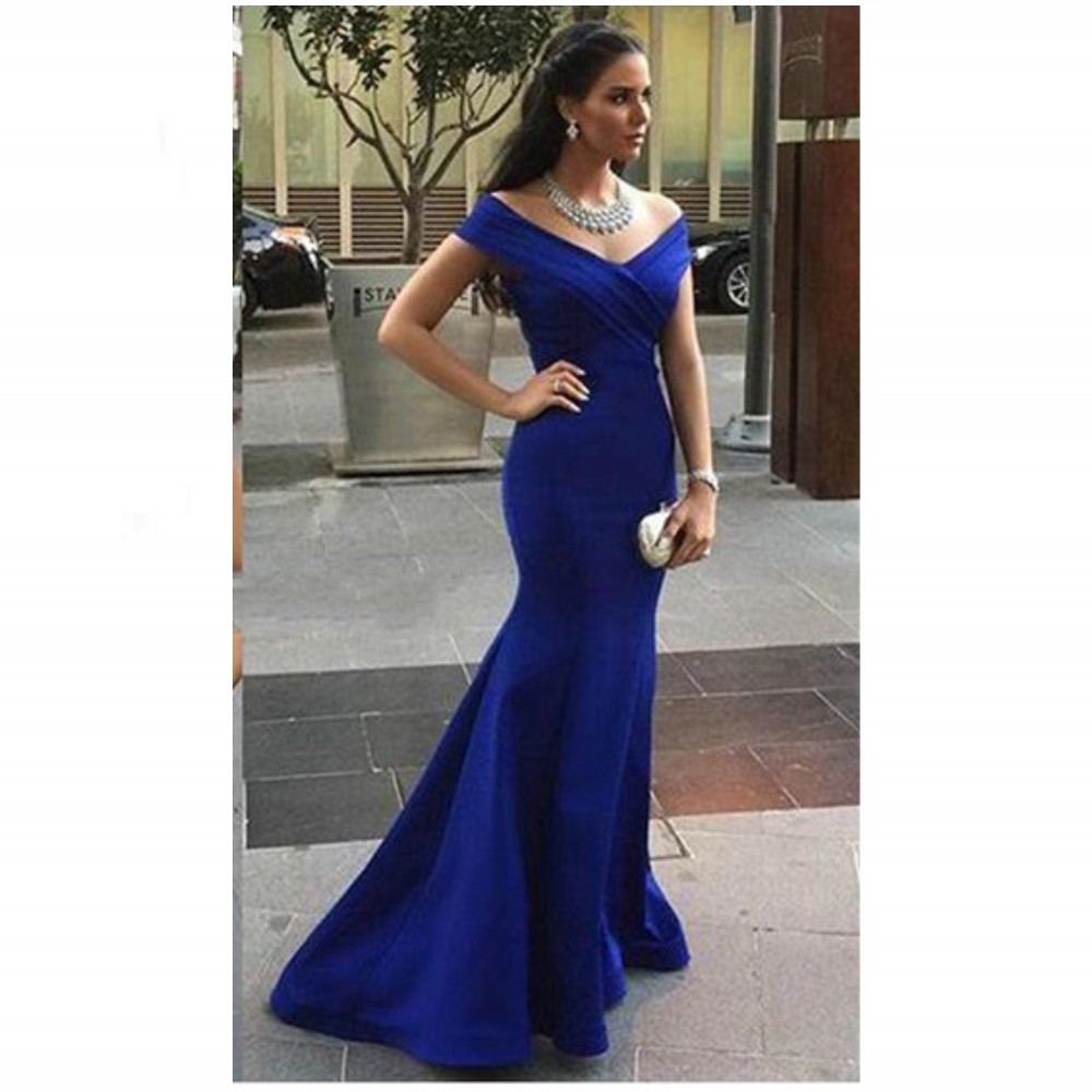 Ulass Evening-Dresses-Elegant-Royal-Blue- Mermaid-Off-The-Shoulder-Sweep-Train- Sleeveless-Evening-Gowns-Sexy-Elegant