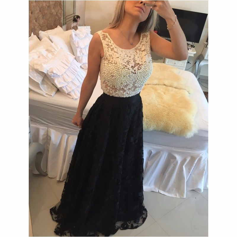 Ulass Black Lace Long Prom Gowns 2016 Newest Design White Beading Bodice Sheer Back Cheap Graduation Dresses