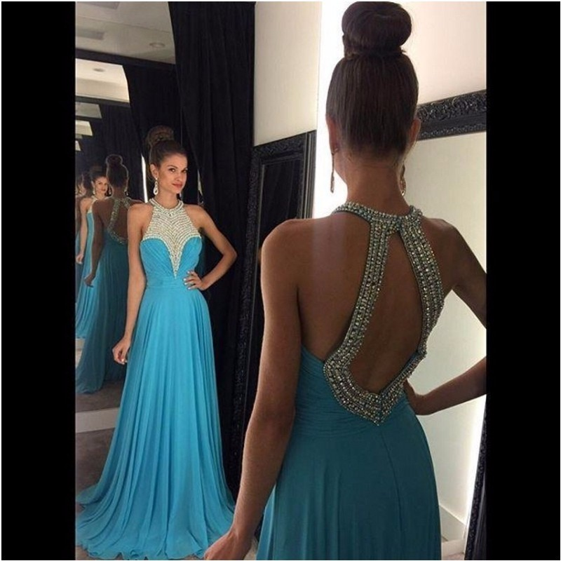Ulass 2016 Graceful Light Blue Prom Dress Long Beaded Bodice robe de soiree Sexy Backless Chiffon Prom Gowns