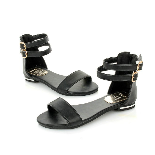 Ulass Summer Fashion Buckle Women Roman Gladiator Flats Sandals Comfort Shoes Open Toe 2016 with Back Zipper Black White