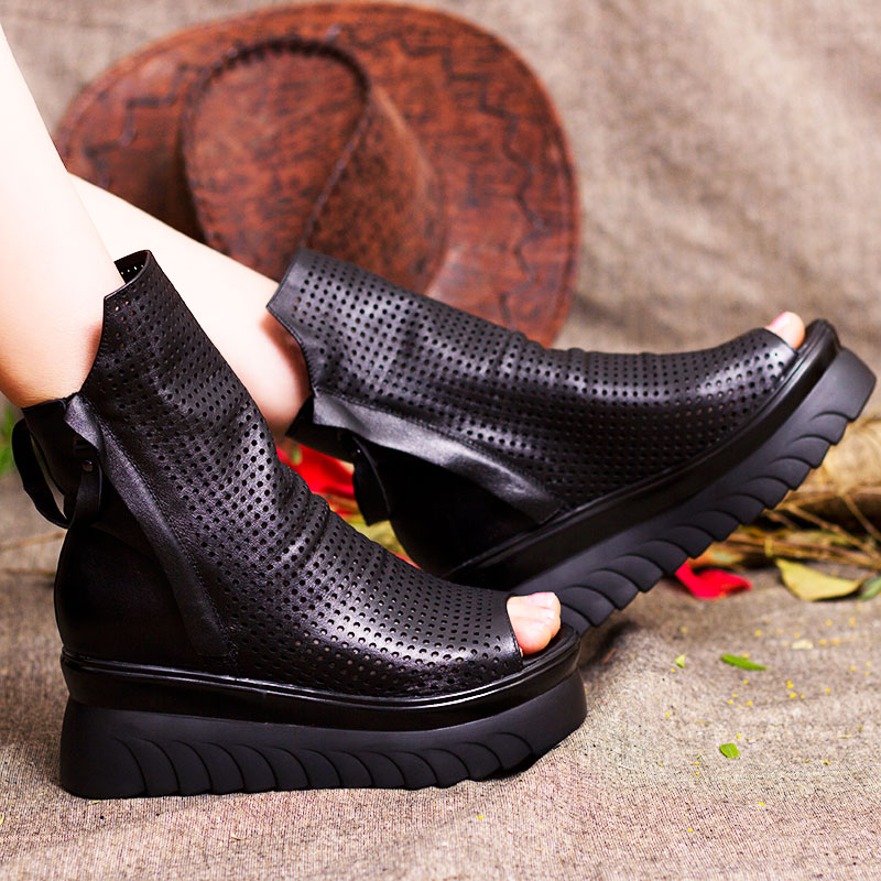 Ulass 2016 Retro Style Cut Outs Platform Women Ankle Boots Peep Toes Genuine Leather Shoes Woman Summer Cool Boots Double Zip ST-056