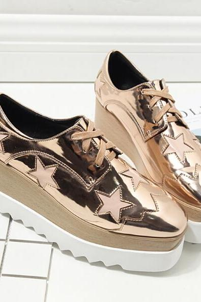 Lace-Up Skate Shoes Featuring Star Cutouts