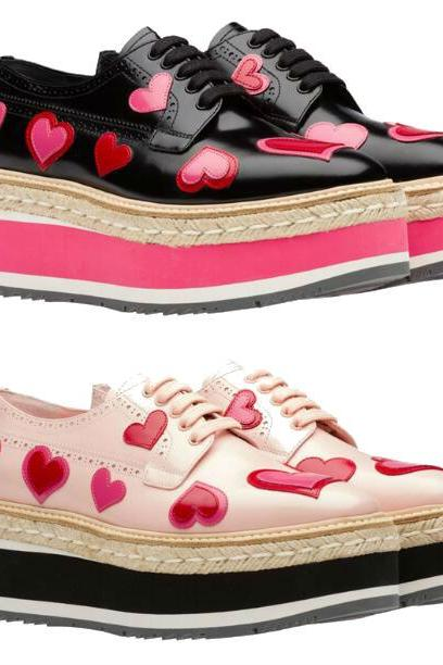 Heart Print Leather Skater Shoes