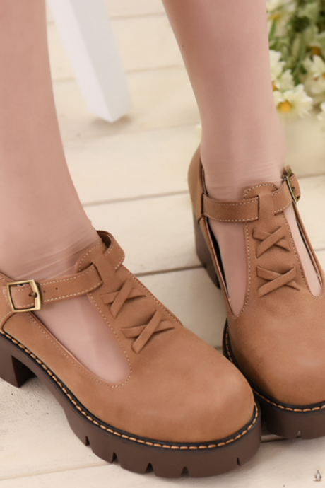 T-strap Chunky Cleated Sole Platform Shoes with Cross Detailing