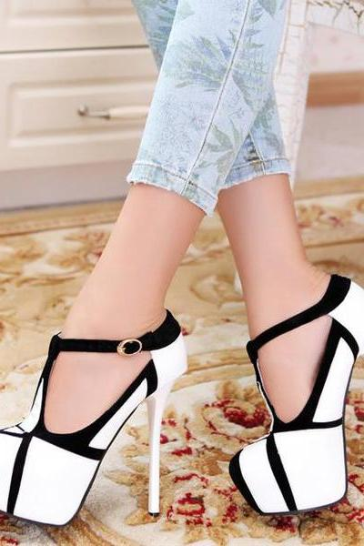 Ulass Fashion Stiletto T Strap High Heel Shoes ST-087