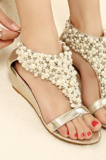 Ulass Beautiful Metallic Pearl Beaded Bohemian Style Wedge Sandals ST-088