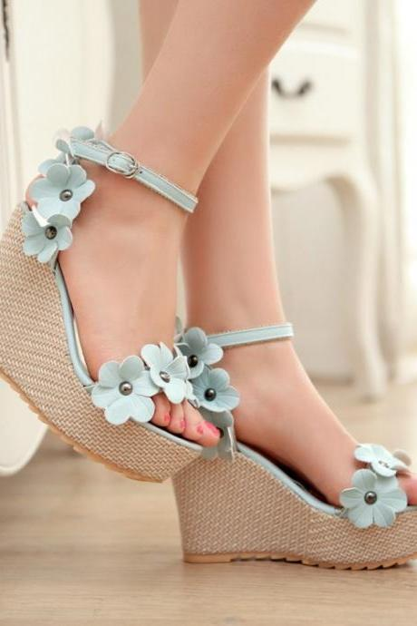 Ulass High Heel Ankle Strap Blue PU Sandals ST-093