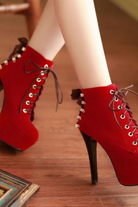 Ulass Red Suede High Heels Lace Up Ankle Boots ST-106