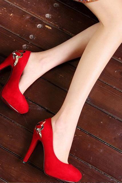 Ulass Red and Blue Metal Design High Heel Platform Shoes ST-109