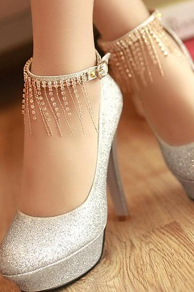 Ulass Stiletto High Heels Silver PU Party Ankle Strap Pumps ST-111