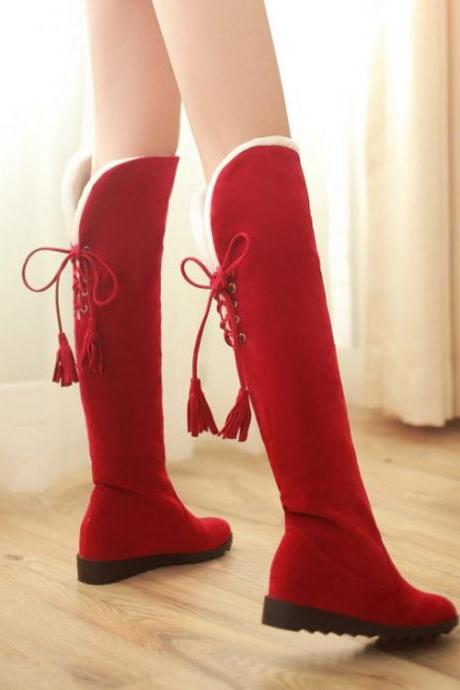 Ulass Stylish Red Suede Over The Knee Winter Boots ST-125