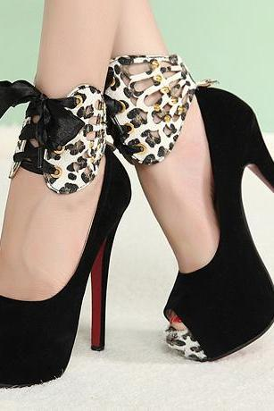 Ulass Sexy Peep toe Bow Embellished Black Leopard Print High Heels Shoes ST-131