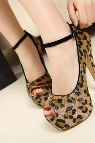Leopard Print Peep Toe Stiletto Pumps with Ankle Strap