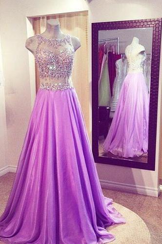 Ulass Lilac Prom Dresses,Beaded Prom Dress,Sexy Prom Dress,2 Piece Prom Dresses,2016 Formal Gown,Beading Evening Gowns,Two Pieces Party Dress,Prom Gown For Teens