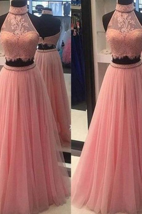 Ulass A-line Pink Prom Dresses,Lace Prom Dresses,Open Back Prom Dresses,Halter Prom Dresses,Plus Size Prom Dresses,Evening Dresses,Party Dresses
