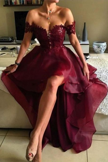 Ulass 2017 High Low Prom Dresses,A-line Prom Dresses,Appliques Prom Dresses,Burgundy Prom Dresses,Off Shoulder Prom Dresses,Evening Dresses,Party Dresses