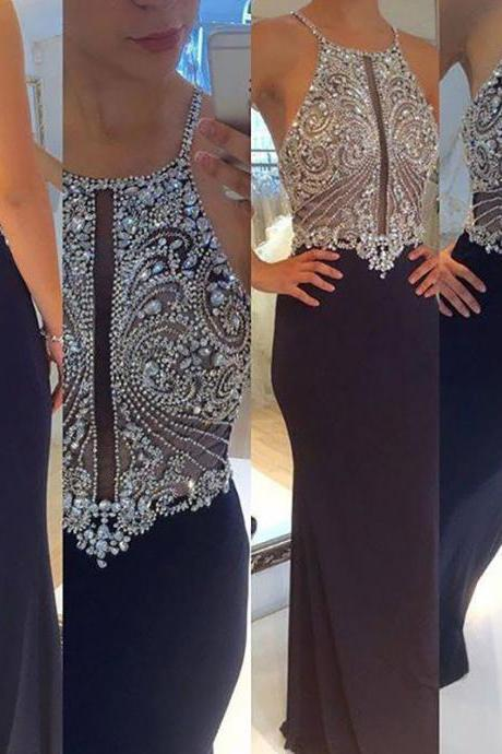 Ulass 2017 Sexy Prom Dresses,Mermaid Prom Dresses,Beaded Prom Dresses,Navy Prom Dresses,Evening Dresses,Open Back Prom Dress,Party Dresses