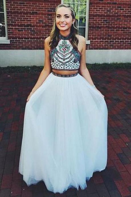 Ulass Two Pieces Prom Dress, Long Prom Dress, Embroidery Prom Dress, A-line Prom Dress, Backless Prom Dress, Party Prom Dress,Custom Made Prom Dress