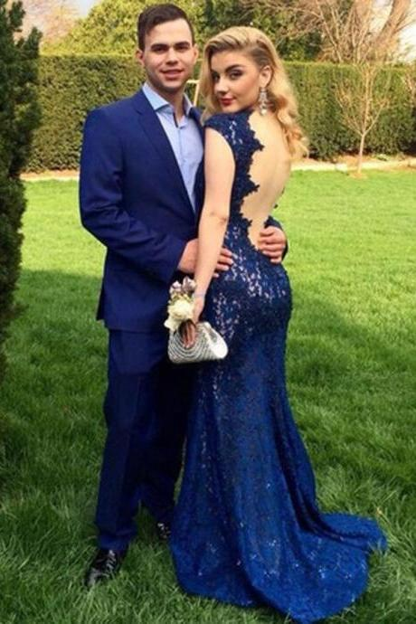 Ulass Sexy Deep V-neck Prom Dresses,Lace Prom Dresses,Mermaid Prom Dresses,Blue Evening Dresses,Backless Prom Dress,Open Back Party Dresses
