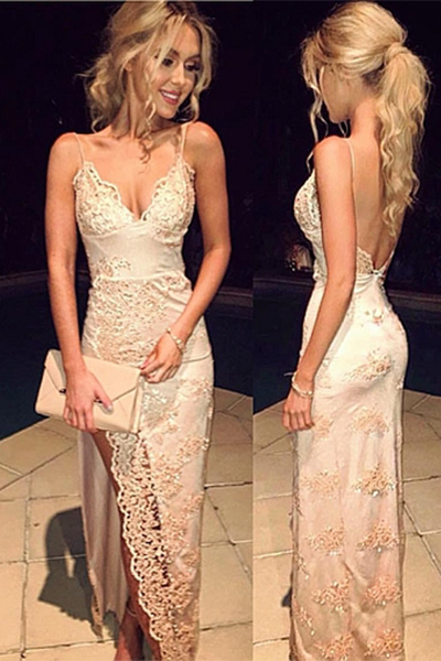 Ulass Sexy Deep V-neck Prom Dresses,Lace Appliques Prom Dresses,Plus Size Prom Dresses,Backless Evening Dresses,Spaghetti Straps Prom Dress,Party Dresses