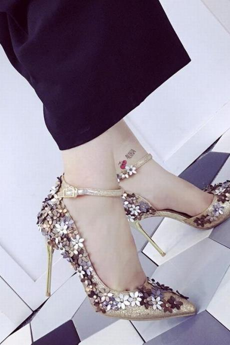 Floral Appliqués Glitter Pointed-Toe Ankle Strap High Heel Stilettos