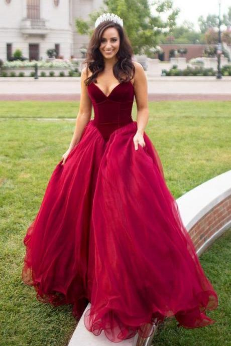 Custom Made Dark Red Sweetheart Neckline Velvet Bodice and Tulle Ball Gown Prom Dress