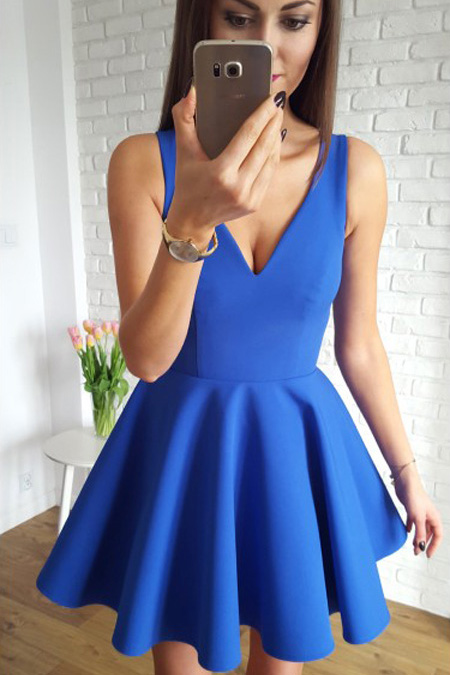 Ulass Simple Prom Dresses,A-Line Homecoming Dress,V-Neck Homecoming Dresses,Sleeveless Prom Dress,Satin Homecoming Dresses,Short Homecoming Dress