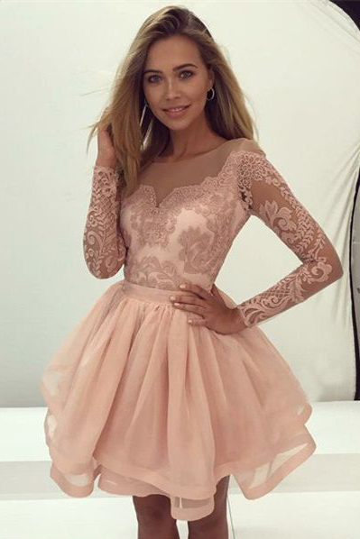 Ulass A-Line Homecoming Dress,Round Neck Prom Dresses,Long Sleeves Prom Gown,Pink Homecoming Dresses,Organza Homecoming Dress