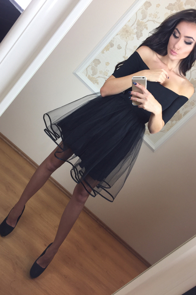Ulass A-Line Homecoming Dress,Off-The-Shoulder Homecoming Dresses,Short Sleeves Homecoming Dresses,Black Homecoming Dress,Short Homecoming Dress,Tulle Homecoming Dresses