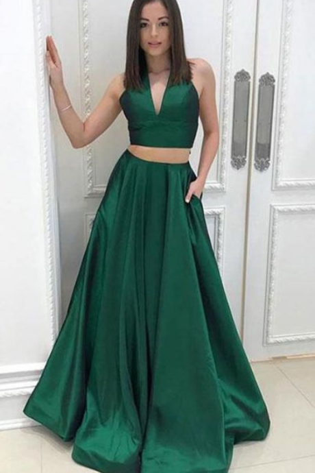 Simple A-Line Two Pieces V-Neck Sleeveless Green Satin Long Prom Dress