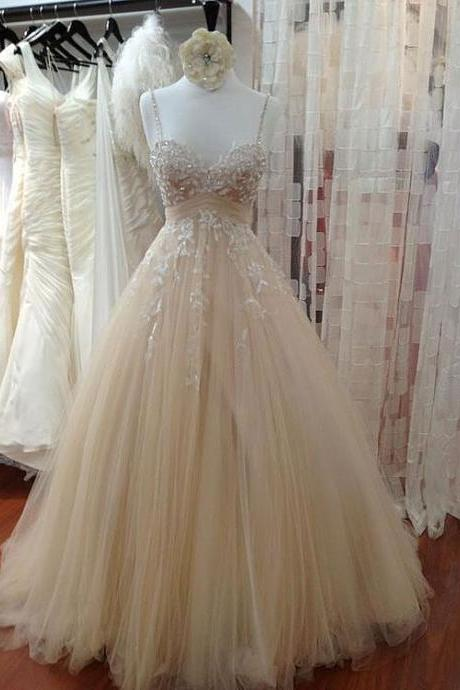 A-line Deep-V Prom Dresses,Sweep Train Satin Prom Dress, Tulle Prom Dress, Evening Gowns