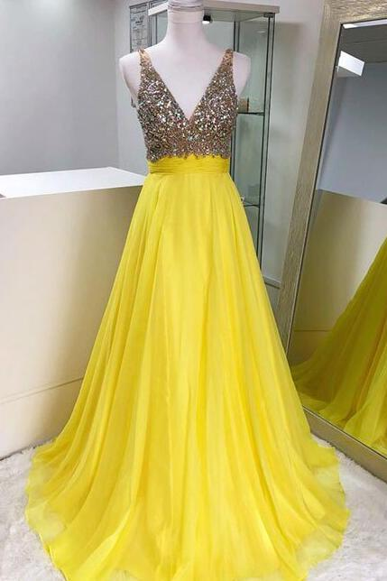 Stunning Yellow V-Neck Rhinestones Prom Dress,Straps Chiffon Evening Dress