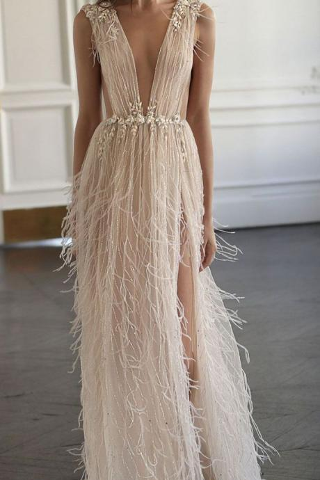 Tulle Sexy V-neck, See-through, Prom Dresses with Beading ,Summer Dresses,Floor Length ,Sleeveless Evening Dress with Feather ,High Slit ,New Fashion,Custom Made ,Sleeveless Evening Dress,New Fashion,Custom Made
