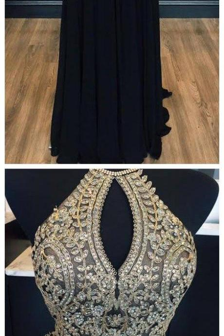 Halter Gold Lace Appliqued Black Prom Dress,Chiffon Long Prom Dress,Senior Prom 2018 Dress