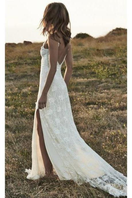 Ivory Lace Beach Wedding Dresses Backless Summer Rustic Wedding Dresses