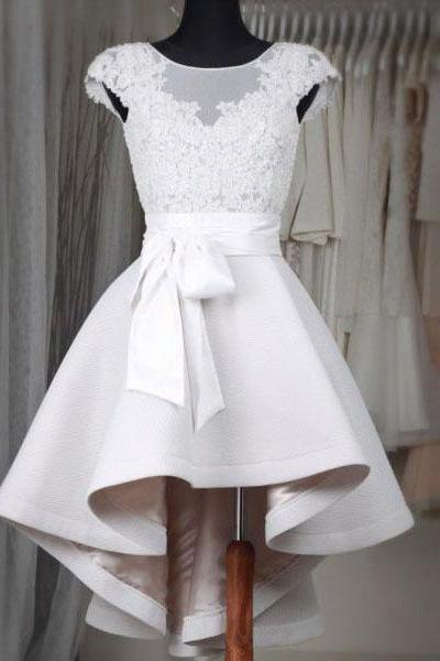 Princess High Low Short Wedding Dresses Ivory Satin with Lace Appliqued Homecoming Dresses