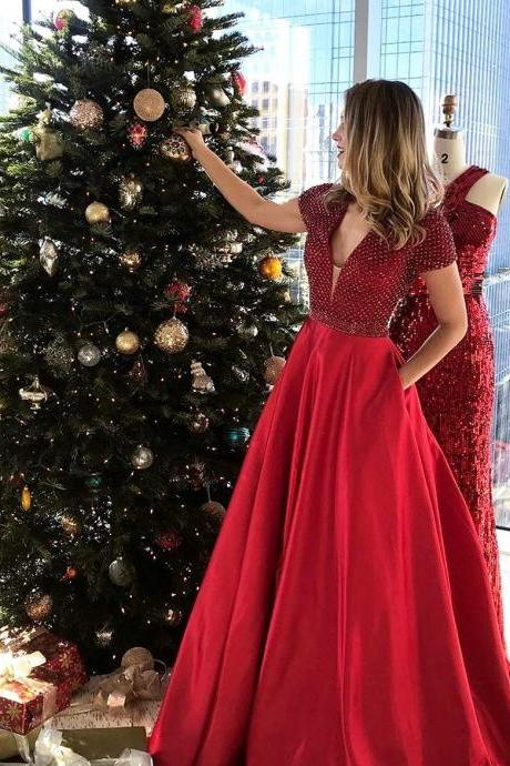 Long Evening Dress, Red Beaded Prom Dress, Sexy Cap Sleeve Prom Dresses