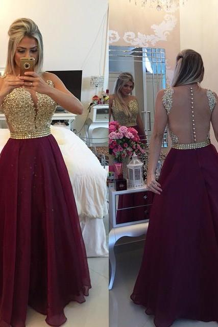 UlassGold Lace Applique Burgundy Prom Dresses 2016 Sheer Tulle Floor Length Graduation Dress