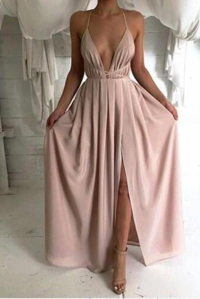 Ulass sexy backless prom dress, long prom dress, simple prom dress, cheap prom dress, dusty pink prom dress, prom dresses 2016
