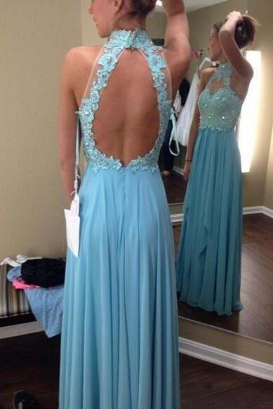 Ulass Hot Sale 2016 Chiffon Prom Dresses High Neck Sleeveless Backless Chiffon With Applique Crystal 2016 Long Formal Dress Party Gown