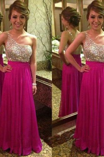 Ulass Sexy One Shoulder Prom Dresses Sleeveless With Sheer Back Brads Crystal A Line Chiffon Elegant Floor-Length Prom Gowns 2016 New