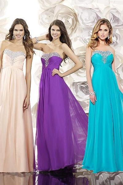 Ulass Chiffon A Line Prom Dresses Strapess Sleeveless Backless With Beads Crystal Elegant Long Elegant Evening Dress Party Gowns 2016